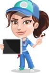 Handy Mechanic Woman Cartoon Vector Character AKA Nicole Fix-it-all - Holding Tablet with Blank Screen