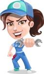 Handy Mechanic Woman Cartoon Vector Character AKA Nicole Fix-it-all - Holding Wrench as a Super Mechanic