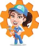 Handy Mechanic Woman Cartoon Vector Character AKA Nicole Fix-it-all - Illustration with Cog Wheel