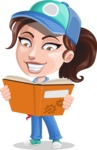 Handy Mechanic Woman Cartoon Vector Character AKA Nicole Fix-it-all - Learning From a Book