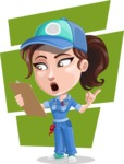 Handy Mechanic Woman Cartoon Vector Character AKA Nicole Fix-it-all - Looking at Notepad with Flat Shapes Background
