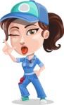 Handy Mechanic Woman Cartoon Vector Character AKA Nicole Fix-it-all - Making a Funny Face