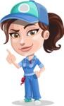 Handy Mechanic Woman Cartoon Vector Character AKA Nicole Fix-it-all - Making a Point