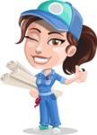 Handy Mechanic Woman Cartoon Vector Character AKA Nicole Fix-it-all - Making Construction Plans