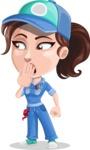 Handy Mechanic Woman Cartoon Vector Character AKA Nicole Fix-it-all - Making Oops gesture