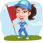 Handy Mechanic Woman Cartoon Vector Character AKA Nicole Fix-it-all - On a Landscape Background