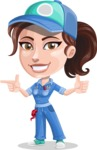 Handy Mechanic Woman Cartoon Vector Character AKA Nicole Fix-it-all - Pointing and Smiling