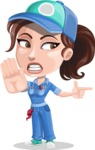 Handy Mechanic Woman Cartoon Vector Character AKA Nicole Fix-it-all - Pointing with a Finger