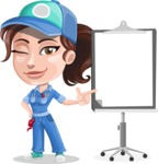 Handy Mechanic Woman Cartoon Vector Character AKA Nicole Fix-it-all - Pointing with a Pointer on Blank Presentation Board