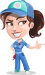 Handy Mechanic Woman Cartoon Vector Character AKA Nicole Fix-it-all - Pointing with Hands
