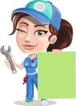 Handy Mechanic Woman Cartoon Vector Character AKA Nicole Fix-it-all - Presenting A Blank Sign