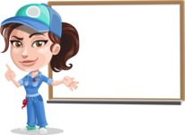 Handy Mechanic Woman Cartoon Vector Character AKA Nicole Fix-it-all - Presenting on Whiteboard