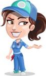 Handy Mechanic Woman Cartoon Vector Character AKA Nicole Fix-it-all - Presenting