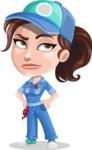 Handy Mechanic Woman Cartoon Vector Character AKA Nicole Fix-it-all - Rolling Eyes