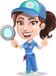 Handy Mechanic Woman Cartoon Vector Character AKA Nicole Fix-it-all - Searching with Magnifier