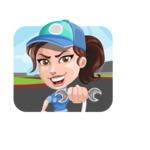 Handy Mechanic Woman Cartoon Vector Character AKA Nicole Fix-it-all - Illustration on Rally Background