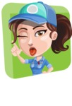Handy Mechanic Woman Cartoon Vector Character AKA Nicole Fix-it-all - Being Funny and Cute with Flat Background