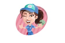 Handy Mechanic Woman Cartoon Vector Character AKA Nicole Fix-it-all - Holding Money with Cool Background Illustration