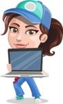 Handy Mechanic Woman Cartoon Vector Character AKA Nicole Fix-it-all - Showing Laptop with Blank Screen