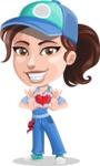 Handy Mechanic Woman Cartoon Vector Character AKA Nicole Fix-it-all - Showing Love with Heart