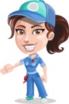 Handy Mechanic Woman Cartoon Vector Character AKA Nicole Fix-it-all - Showing with a Hand