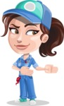 Handy Mechanic Woman Cartoon Vector Character AKA Nicole Fix-it-all - Showing with a Smile