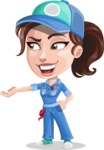 Handy Mechanic Woman Cartoon Vector Character AKA Nicole Fix-it-all - Showing with Both Hands