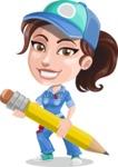 Handy Mechanic Woman Cartoon Vector Character AKA Nicole Fix-it-all - Sketching with Pencil