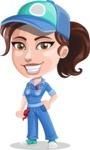 Handy Mechanic Woman Cartoon Vector Character AKA Nicole Fix-it-all - Smiling