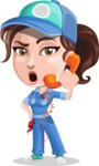 Handy Mechanic Woman Cartoon Vector Character AKA Nicole Fix-it-all - Talking on Phone as a Support