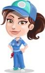 Handy Mechanic Woman Cartoon Vector Character AKA Nicole Fix-it-all - Waiting