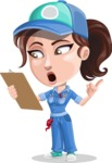 Handy Mechanic Woman Cartoon Vector Character AKA Nicole Fix-it-all - Watching a Notepad and Being Shocked