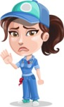 Handy Mechanic Woman Cartoon Vector Character AKA Nicole Fix-it-all - Waving for Goodbye with a Hand