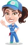 Handy Mechanic Woman Cartoon Vector Character AKA Nicole Fix-it-all - Waving with a Hand