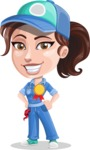 Handy Mechanic Woman Cartoon Vector Character AKA Nicole Fix-it-all - Winning a Prize for Best Mechanic