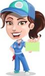 Handy Mechanic Woman Cartoon Vector Character AKA Nicole Fix-it-all - With a Blank Business card