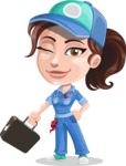 Handy Mechanic Woman Cartoon Vector Character AKA Nicole Fix-it-all - With a Briefcase