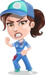 Handy Mechanic Woman Cartoon Vector Character AKA Nicole Fix-it-all - With Angry Face
