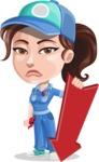 Handy Mechanic Woman Cartoon Vector Character AKA Nicole Fix-it-all - With Arrow Going Down