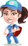Handy Mechanic Woman Cartoon Vector Character AKA Nicole Fix-it-all - With Big Sack with Tools