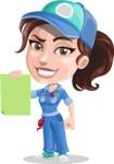 Handy Mechanic Woman Cartoon Vector Character AKA Nicole Fix-it-all - With Blank Paper