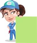 Handy Mechanic Woman Cartoon Vector Character AKA Nicole Fix-it-all - With Blank Presentation Sign