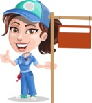 Handy Mechanic Woman Cartoon Vector Character AKA Nicole Fix-it-all - With Blank Real Estate Sign