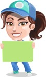 Handy Mechanic Woman Cartoon Vector Character AKA Nicole Fix-it-all - With Blank Sign