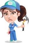 Handy Mechanic Woman Cartoon Vector Character AKA Nicole Fix-it-all - With Broken Mechanic Tool