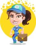 Handy Mechanic Woman Cartoon Vector Character AKA Nicole Fix-it-all - With Circle Background