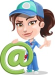 Handy Mechanic Woman Cartoon Vector Character AKA Nicole Fix-it-all - With Email Sign