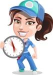 Handy Mechanic Woman Cartoon Vector Character AKA Nicole Fix-it-all - with Fast Service