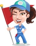 Handy Mechanic Woman Cartoon Vector Character AKA Nicole Fix-it-all - With Flag