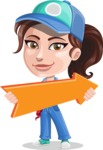 Handy Mechanic Woman Cartoon Vector Character AKA Nicole Fix-it-all - With Forward Arrow
